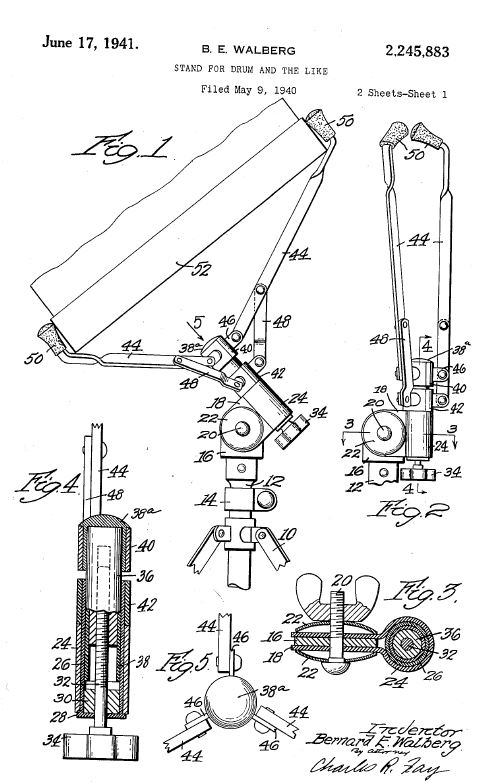 Patent US2245883 - Stand for Drum and the Like.JPG
